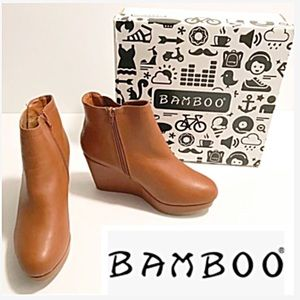 NWT Bamboo, Mable Platform Ankle Wedge Booties